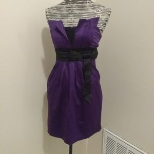 Strapless Royal purple cocktail dress with POCKETS